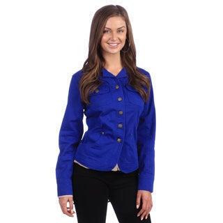Live A Little Women's Blue Chest Pocket Jacket