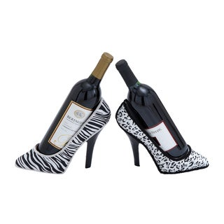 Assorted Elegant Polystone Shoe Fabric Wine Holder (Set of 2)