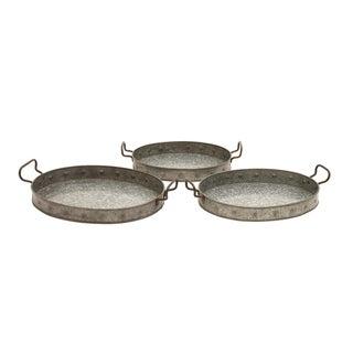 Galvanized 3-piece Handled Tray Set