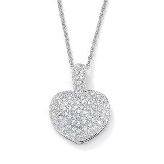 PalmBeach CZ Cubic Zirconia Heart-Shaped Pendant Necklace Glam CZ