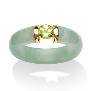 PalmBeach 10k Yellow Gold 1/2 TGW Peridot and Jade Ring Naturalist