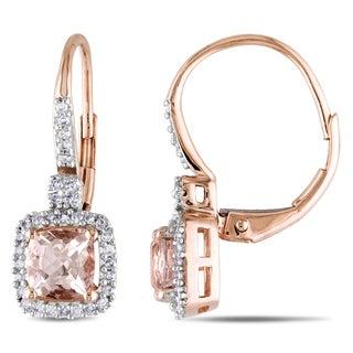 Miadora 10k Rose Gold Morganite and 1/5ct TDW Diamond Earrings (G-H, I1-I2)