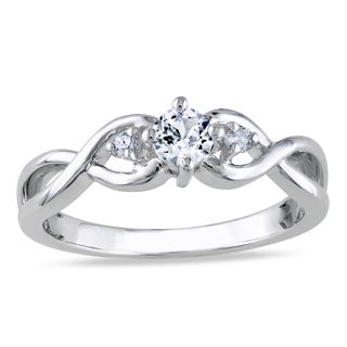 Miadora Sterling Silver Created White Sapphire and Diamond Promise Ring