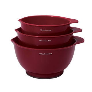 Kitchen Aid Three Classic Red Mixing Bowls