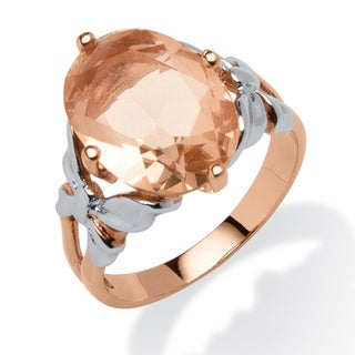 PalmBeach 18k Rose Gold Over Silver Simulated Morganite Crystal Cocktail Ring Color Fun