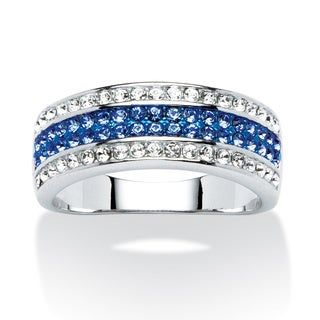 PalmBeach Jewelry Platinum-plated Blue/ White Austrian Crystal Row Ring made with Swarovski Elements Color Fun