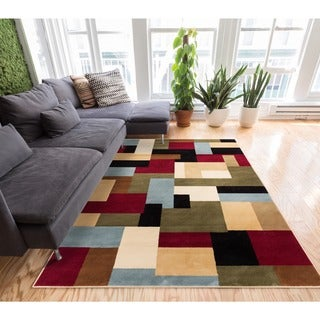 Patchwork Red Area Rug (7'10 x 9'10)