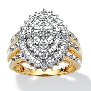 PalmBeach Gold Over Silver 1/8ct TDW Diamond Ring (H-I, I2-I3)