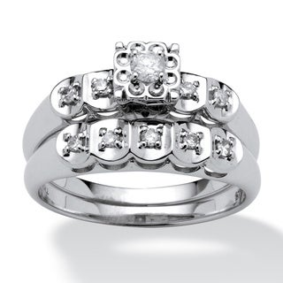 PalmBeach Platinum over Silver 1/3ct TDW Diamond Bridal Set (I-J, I2-I3)
