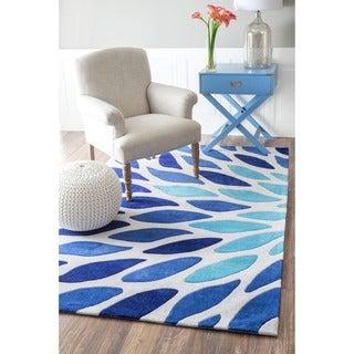 nuLOOM Handmade Modern Leaves Blue Area Rug (7'6 x 9'6)