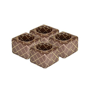 Brown Quilt Textured Napkin Ring Set