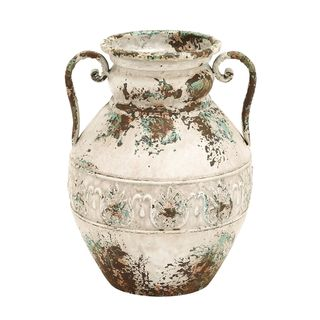 Classy Brown, Green, Fawn Finished Dainty Handle Metal Vase