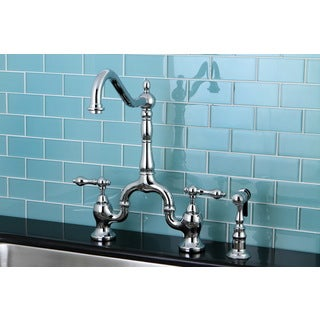 Victorian High Spout Chrome Bridge Double-handle Kitchen Faucet