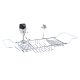 Bathtub Caddy with Candle Holder and Wine Glass Holder