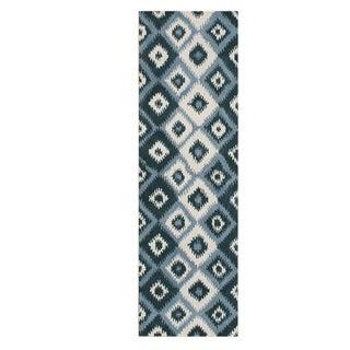 Alliyah Handmade Ikat Orion Blue New Zealand Blend Wool Runner Rug (3' x 10')