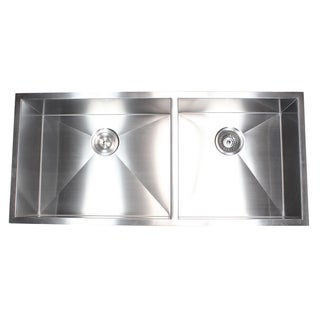 Stainless Steel 42-inch Double-bowl 60/40 Zero Radius Undermount Kitchen Sink