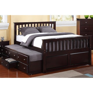 Full-size 3-drawer, Twin Trundle Captain Bed