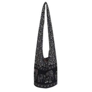 Cotton 'Black and White Siam' Medium Shoulder Bag (Thailand)