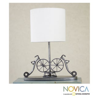 Recycled Metal 'Rustic Vintage Bicycles' Table Lamp (Mexico)
