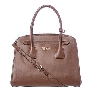 Prada Brown Saffiano Leather Tote Bag