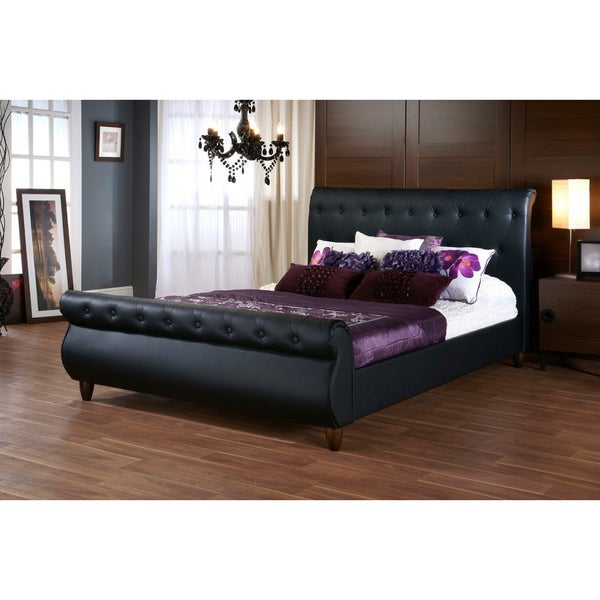 Black Upholstered Queen Sleigh Bed