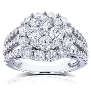 Annello 14k White Gold 3ct TDW Multi-Row Diamond Composite Engagement Ring (G-H, I1-I2)