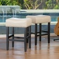 Christopher Knight Home Lisette Backless Ivory Leather Counter Stool (Set of 2)
