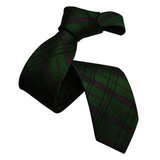 Dmitry Men's Dark Green Patterned Italian Silk Tie