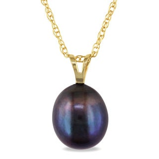 Miadora 10k Yellow Gold Black Cultured Freshwater Pearl Necklace (8-9 mm)