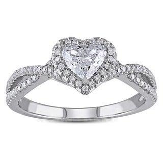 Miadora 14k White Gold 1ct TDW Heart Diamond Ring (G-H, I1-I2)