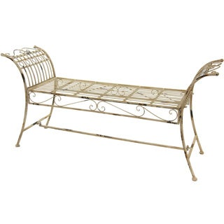 Distressed White Rustic Garden Bench (China)