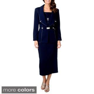 Giovanna Signature Women's 3-piece Rhinestone Detailed Skirt Suit