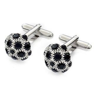 EJ Sutton Classic Black and Silver Crystal Cufflinks (Israel)