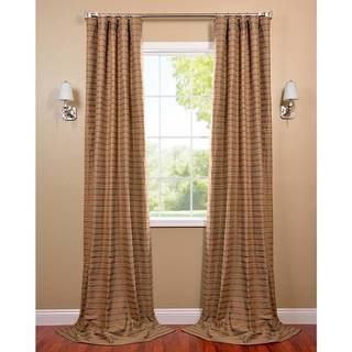 Mocha and Teal Striped Cotton Curtain Panel
