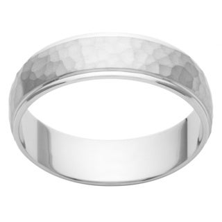 Cambridge Platinum 6mm Hammered Finish Men's Wedding Band