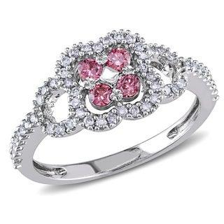Miadora 14k White Gold 1/2ct TDW Pink and White Diamond Ring (I1-I2)