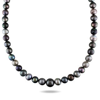 Miadora 14k White Gold Tahitian Pearl Necklace (9-13 mm)