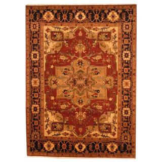 Indo Hand-knotted Heriz Red/ Black Wool Rug (9' x 12')