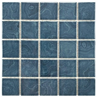 SomerTile 12x12 Paradise Beach Blue 0.188-in Porcelain Mosaic Tile (Pack of 10)