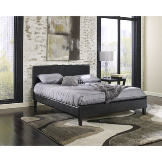 Sleep Sync Beaumont Upholstered Black Leather Complete Platform Bed