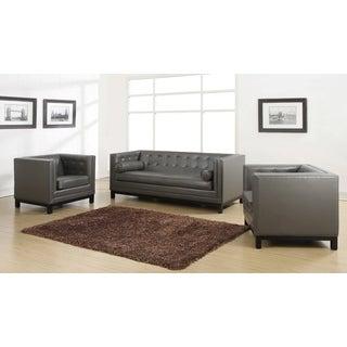 Zoe Grey Leather 2-piece Living Room Set