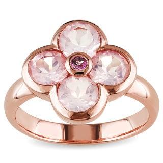 Miadora Rose Flashplated Silver Rose Quartz and Pink Tourmaline Flower Ring