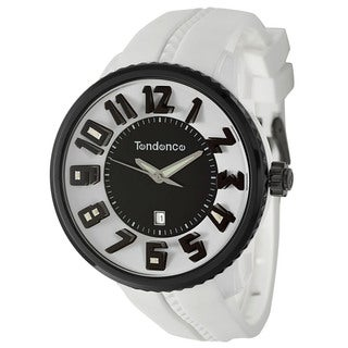 Tendence Men's 'Gulliver Round' White/ Black Polycarbonate and Stainless Steel Quartz Watch