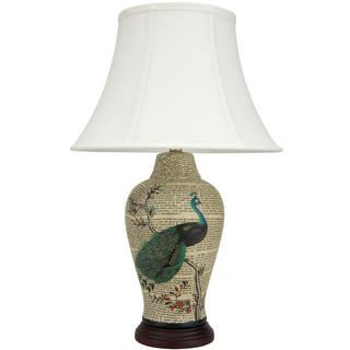 25-inch Peacock on Branch Porcelain Jar Lamp (China)