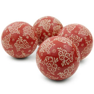 Red and Beige Flowers 4-inch Porcelain Ball Set (China)