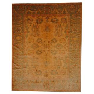 Egyptian Hand-knotted Vegetable Dye Gold/ Green Wool Rug (7'10 x 10)