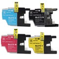 Brother LC75 Black, Cyan, Yellow, Magenta Compatible Ink Cartridge (Remanufactured) (Pack of 4)