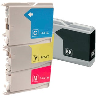 Brother LC51 BCYM Compatible Ink Cartridge Set (Remanufactured) (Pack of 4)