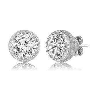Collette Z Sterling Silver Round-cut Cubic Zirconia Earrings
