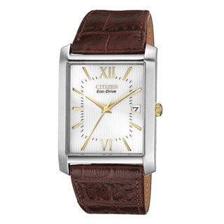 Citizen Men's 'BM6789-02A Eco-Drive' Brown Leather and Stainless Steel Watch